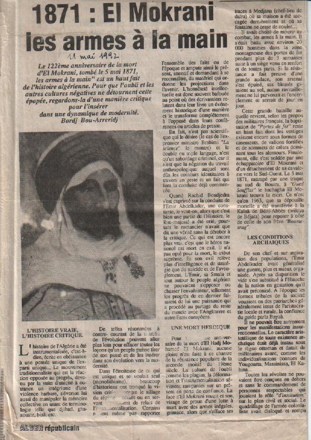 Article de N.E. Tatem sur Alger-Républicain (1992) sur El-Mokrani. 1ère partie