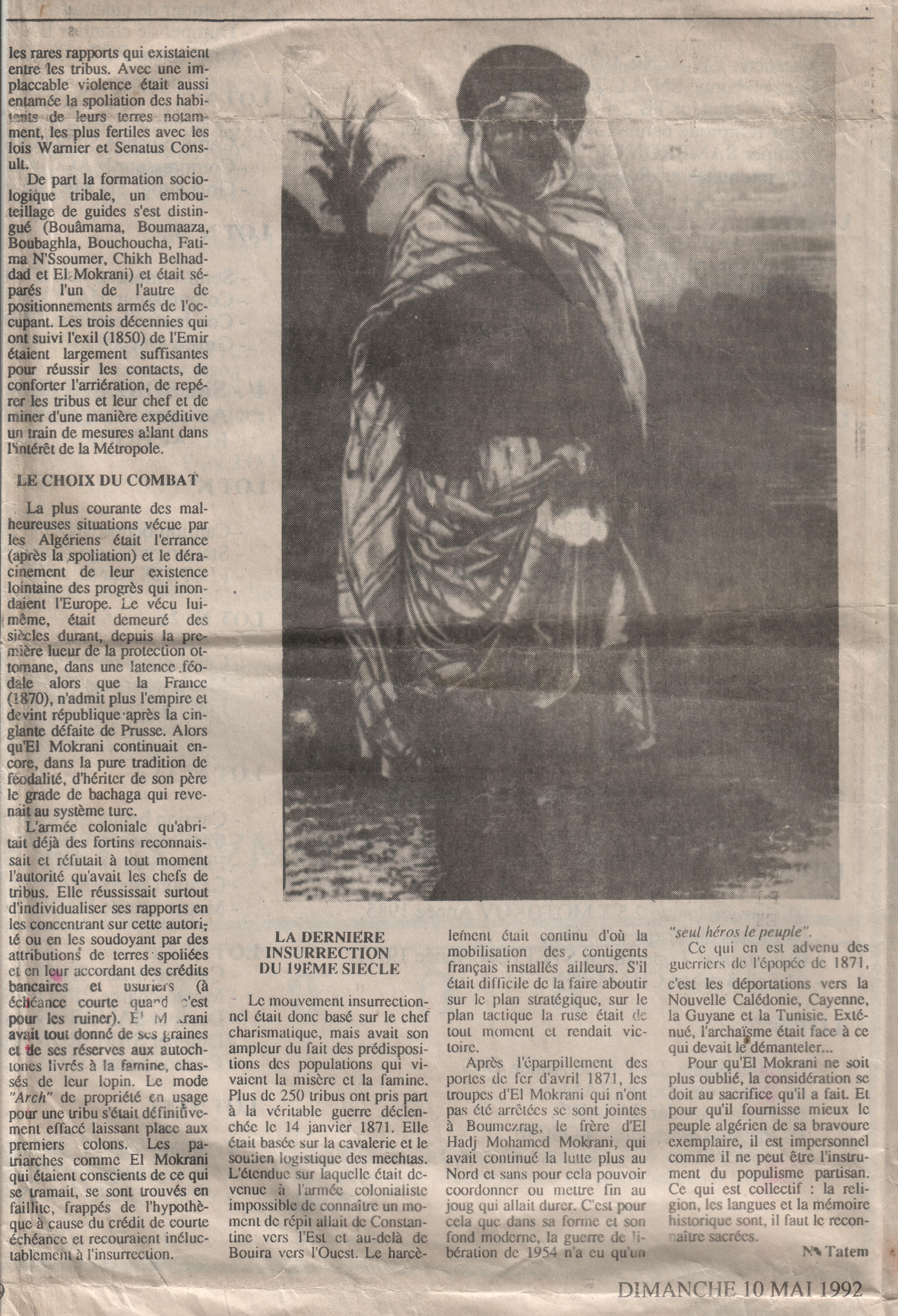Article de N.E. Tatem sur Alger-Républicain (1992) sur El-Mokrani. 2ème partie